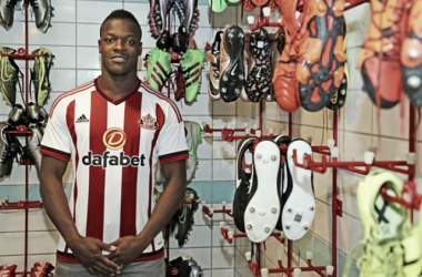 All smiles - Lamine Kone finally secures his move to Sunderland.