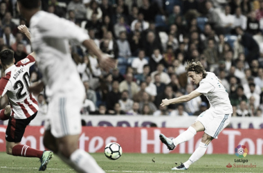 Il tiro di Luka Modric, poi deviato in rete da Cristiano Ronaldo. Fonte: LaLiga.es