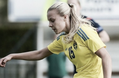 Lotta Ökvist on international duty for Sweden | Source: uefa.com