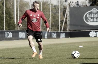 Stanislav Lobotka en uno de los entrenamientos esta semana en A Madroa. | Foto: RC Celta