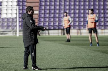 Sergio González en el entrenamiento de esta mañana // Foto: Real Valladolid