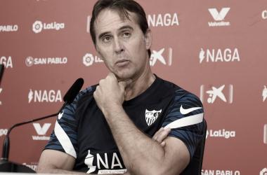 Julen Lopetegui en rueda de prensa. -Sevilla FC