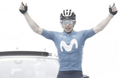 MIguel Ángel López celebra. Foto Gomez Sport - Movistar Team