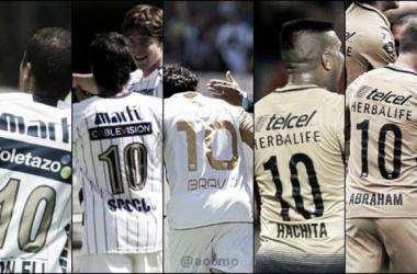 Ailton Da Silva, Ignacio Scocco, Martín Bravo, Daniel Ludueña y Abraham González, poseedores del '10' auriazul (Fotomontaje: Andrés Ocampo)