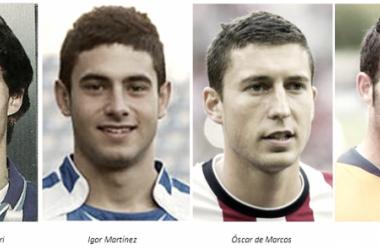 Los cuatro jugadores alavesistas. Fuentes: 1 (twitter.com), 2 (xtasis.org), 3 (miathletic.com), 4 (twitter.com)