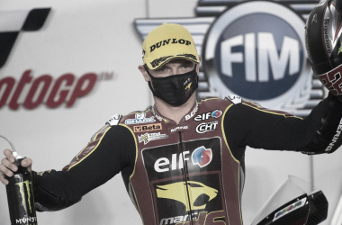 Sam Lowes tras conseguir la pole en el DohaGP / Fuente: ELF Marc VDS Racing Team