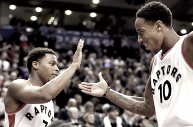 Toronto Raptors' Kyle Lowry and DeMar DeRozan are arguably one of the top backcourts in the NBA. Photo: Frank Gunn/The Canadian Press