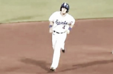 Tanner Lubach rounds second base after his second home run. (Screenshot captured via americanassociationbaseball.tv)