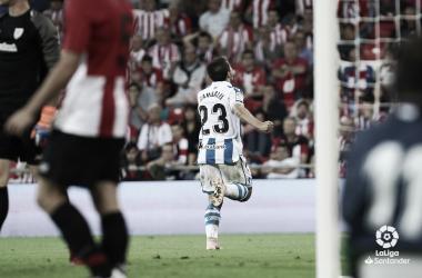 Luca Sangalli celebra su gol en San Mamés / Foto vía LaLiga