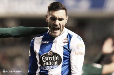 Lucas Pérez se lamenta en el partido ante el Betis   Imagen vía RC Deportivo