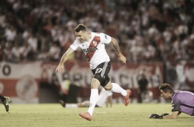 Pratto estuvo cerca del gol ante Olimpo (Foto: @Carpoficial).