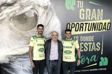 Juan Martín Lucero y Diego Rodríguez. Foto: Club Defensa y Justicia.