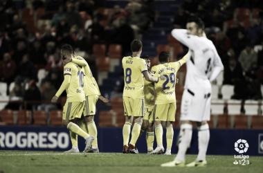 Los jugadores del Cádiz celebran el tanto de Jairo en el partido de la ida | laliga.es