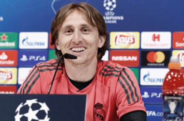 Luka Modric en sala de prensa. Fuente: Real Madrid.