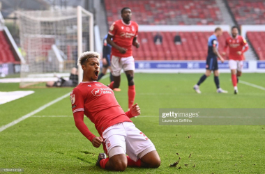 Lyle Taylor celebrates his first of two goals in Nottingham Forest's 2-0 victory over Wycombe Wanderers in November 2020&nbsp;<div>(Photo by Laurence Griffiths via Getty Images)&nbsp;</div>