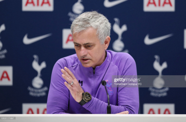<span>ENFIELD, ENGLAND - JANUARY 31: Jose Mourinho, Head Coach of Tottenham Hotspur during the Tottenham Hotspur press conference at Tottenham Hotspur Training Centre on January 31, 2020 in Enfield, England. (Photo by Tottenham Hotspur FC/Tottenham Hotspur FC via Getty Images)</span>