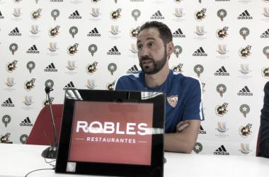 Pablo Machín en la rueda de prensa previa al partido. Foto: Sevilla FC.