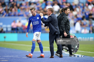 Leicester City manager Brendan Rogers, left, and Leicester City's James Maddison during the Premier League match between Leicester City and Burnley FC at The King Power Stadium | Photo: Getty/ Plumb Images