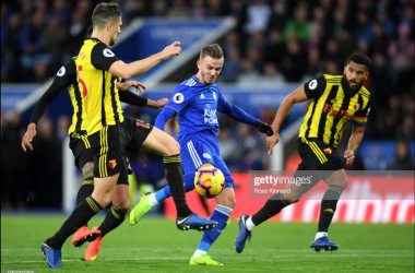 James Maddison fires in a stunning goal in Leicester's 2-0 win over Watford | Photo: Getty/ Ross Kinnard