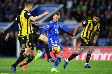 James Maddison scores against Watford | Photo: Getty/ Ross Kinnaird