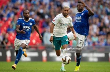Wilfried Ndidi and Ricardo Pereira chase down former fox Riyad Mahrez back in August at Wembley for the Community Shield affair.