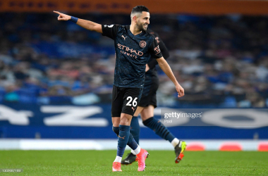 <div>LIVERPOOL, ENGLAND - FEBRUARY 17: Riyad Mahrez of Manchester City celebrates after scoring their side's second goal during the Premier League match between Everton and Manchester City at Goodison Park on February 17, 2021 in Liverpool, England. Sporting stadiums around the UK remain under strict restrictions due to the Coronavirus Pandemic as Government social distancing laws prohibit fans inside venues resulting in games being played behind closed doors. (Photo by Peter Powell - Pool/Getty Images)</div><div><br></div>