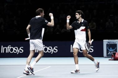 Mahut y Herbert celebran un punto durante la semifinal de hoy. Foto: gettyimages.es
