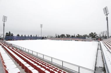 Campo de entrenamiento de Majadahonda después de la nevada de la madrugada