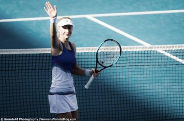 Ekaterina Makarova celebrates her huge victory | Photo: Jimmie48 Tennis Photography