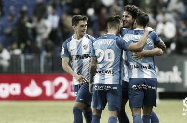 Los jugadores del Málaga celebran un gol en La Rosaleda esta temporada | Imagen: LaLiga