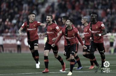 Jugadores del Mallorca celebrando un gol como locales. Fuente: LaLiga