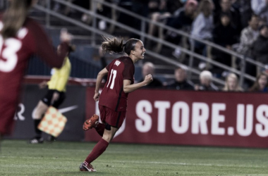 United States forward Mallory Pugh was the highlight player of the night, scoring a brace and adding an assist to help the USWNT beat Denmark 5-1. | Photo: @WashSpirit