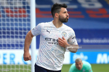 <div>LONDON, ENGLAND - MAY 01: Sergio Aguero of Manchester City celebrates after scoring his team's first goal during the Premier League match between Crystal Palace and Manchester City at Selhurst Park on May 01, 2021 in London, England. Sporting stadiums around the UK remain under strict restrictions due to the Coronavirus Pandemic as Government social distancing laws prohibit fans inside venues resulting in games being played behind closed doors. (Photo by Tom Flathers/Manchester City FC via Getty Images)</div>