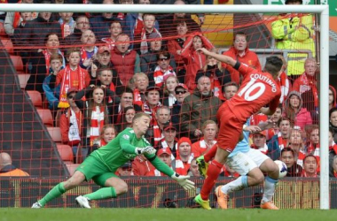 Coutinho firing home the winner in Liverpool's 3-2 victory over the Sky Blues at Anfield.