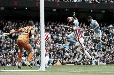Fernando out jumps Geoff Cameron at the near post to open the scoring for Manchester City. Photo: Sky Sports