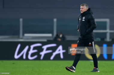 <div>Real Sociedad v Manchester United - UEFA Europa League Round Of 32 Leg One</div><div>TURIN, ITALY - FEBRUARY 18: (BILD ZEITUNG OUT) head coach Ole Gunnar Solskjaer of Manchester United Fc looks on during the UEFA Europa League Round of 32 match between Real Sociedad and Manchester United at Allianz Stadium on February 18, 2021 in Turin, Italy. (Photo by Sportinfoto/DeFodi Images via Getty Images)</div>