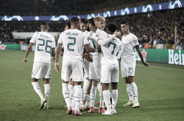 El Manchester City celebrando el cuarto gol. FUENTE: UEFA Champions League