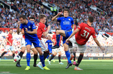 <div>MANCHESTER, ENGLAND - SEPTEMBER 14: Caglar Soyuncu of Leicester shoots past Nemanja Matic of Man Utd during the Premier League match between Manchester United and Leicester City at Old Trafford on September 14, 2019 in Manchester, United Kingdom. (Photo by Simon Stacpoole/Offside/Getty Images)<br></div>