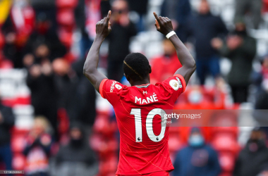 Sadio Mane's excellent record against Crystal Palace continued with two goals in front of 10,000 spectators. Photo by Paul Ellis - Pool via Getty Images