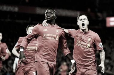 Mané festejando su gol en Premier League. Foto: Liverpool FC