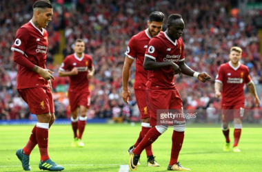 Sadio Mané celebrates scoring in Liverpool's 4-0 thrashing of Arsenal (The Anfield Wrap)