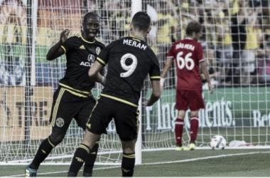 Kekuta Manneh celebrates his tying goal in a 3-1 win over Chicago Fire. | Source: Daniel Herlensky - Columbus Crew SC