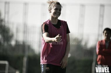 La jugadora azulgrana durante un entrenamiento / Foto: Noelia Déniz (VAVEL.com)
