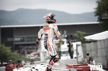 Marc Márquez celebrando el podio del GP de Cataluña. Foto: Noelia Déniz- VAVEL
