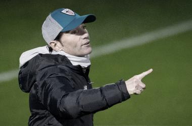Marcelino en el entrenamiento previo al partido // Foto: Athletic Club
