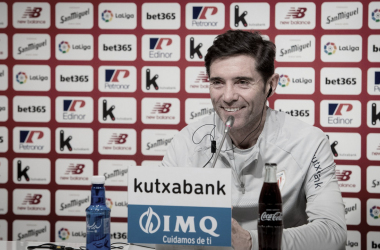 Marcelino en la rueda de prensa antes del partido Levante-Athletic