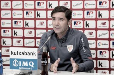 Marcelino en la rueda de prensa previa a la jornada 4