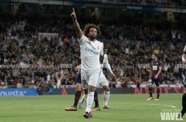 Marcelo en un partido con el Real Madrid/ Foto: Daniel Nieto (Vavel)