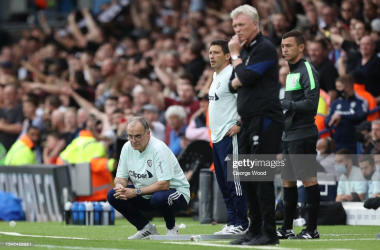 """<span style=""""font-size: 11px;"""">LEEDS, ENGLAND - SEPTEMBER 25: Marcelo Bielsa, Manager of Leeds United looks on during the Premier League match between Leeds United and West Ham United at Elland Road on September 25, 2021 in Leeds, England. (Photo by George Wood/Getty Images</span>"""