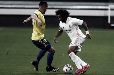 Marcelo durante el partido contra el Cádiz | Fuente: Twitter Real Madrid.